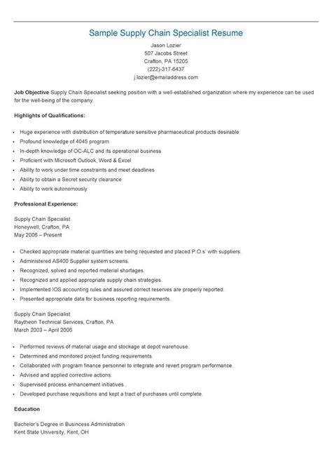 Supply Chain Specialist Resume by 17 Best Images About Resame On Skin Care Specialist Supply Management And