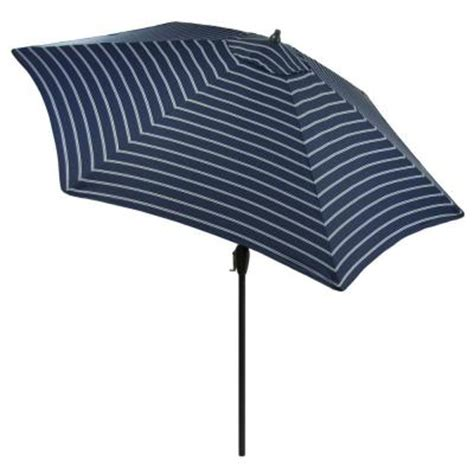 Hton Bay Patio Umbrella by Striped Patio Umbrella 9 Ft Shop Garden Treasures Blue