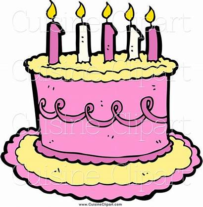 Cake Birthday Clipart Candles Pink Yellow Cuisine