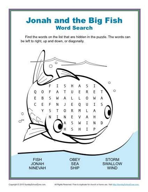 jonah and the big fish word search children s bible