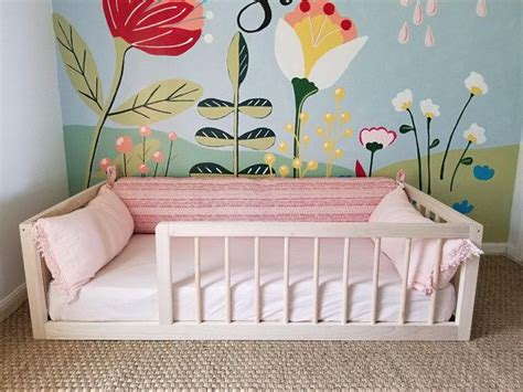 montessori floor bed  rails full  double size floor