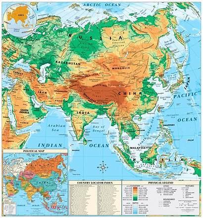 Asia Map Physical Memographer