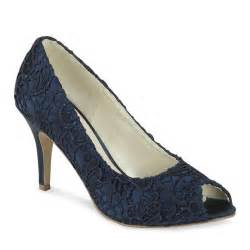Navy Blue Lace Wedding Shoes