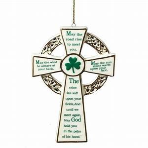 Porcelain IRISH BLESSING CROSS Christmas Ornament, 4 75