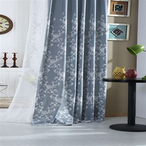 gray floral curtains country curtains gray blue floral embroidered