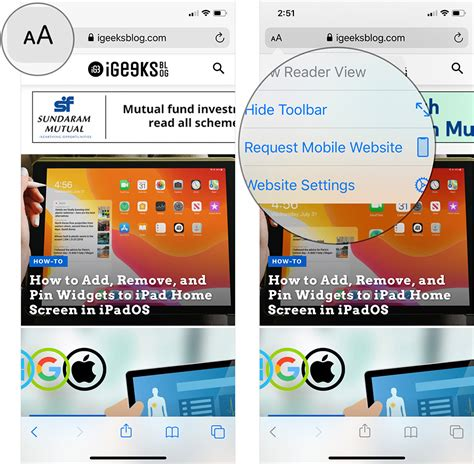 desktop version on mobile how to request desktop site in safari on iphone or