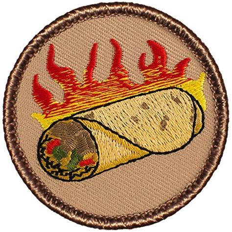 """Prices from $2.15 to $3.69 your promotional message is easy to grasp! Flaming Burrito Patrol Patch - 2"""" Round - FREE SHIPPING…   Embroidered patches, Patches, Burritos"""