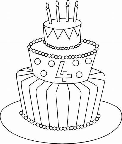 Cake Birthday Drawing Easy Sketch 4th Clipart