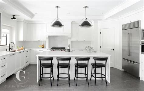 white  black kitchen  corner pantry transitional