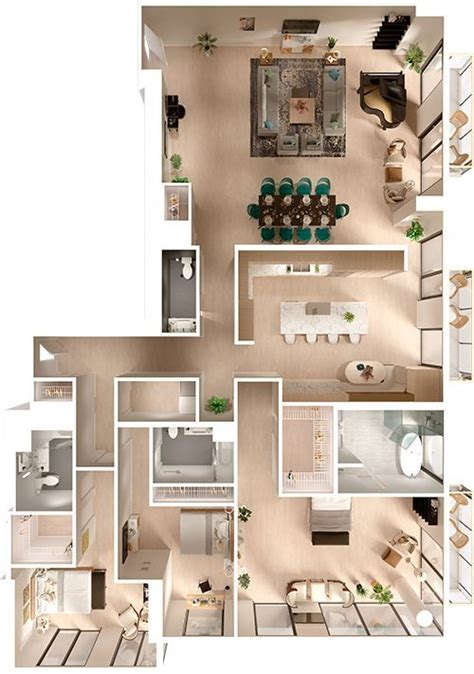 penthouse  floor plan top view  floor plans