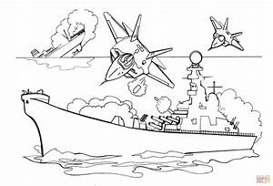 Attacking Battleship With Bombs coloring page Free Printable Coloring Pages