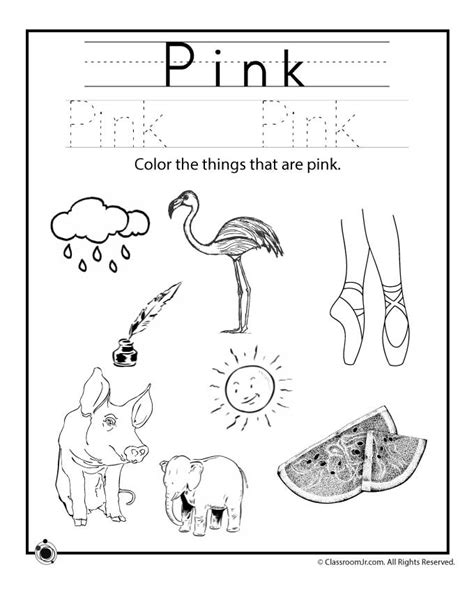 color pink worksheet woo jr activities 771 | preschool color recognition