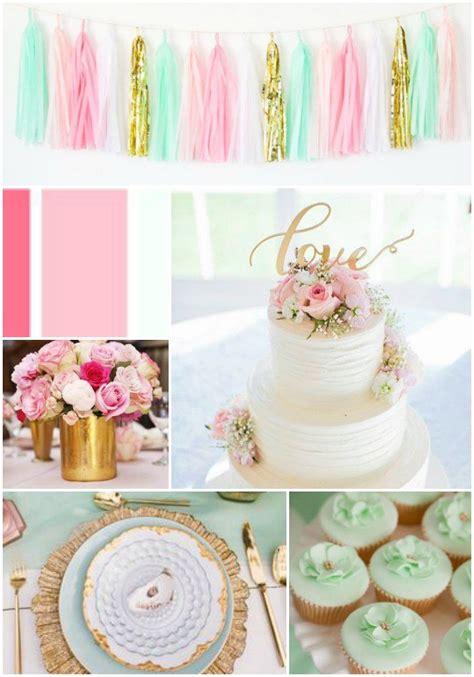 Mint Green Blush Pink Gold Wedding Decor Ideas Wedding