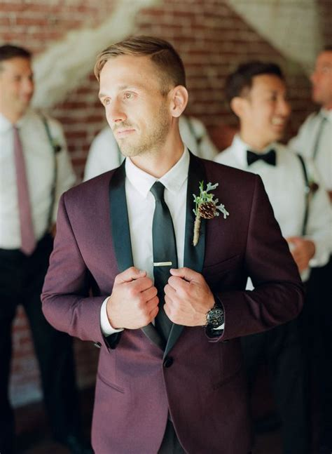 picture   burgundy  black wedding suit   white