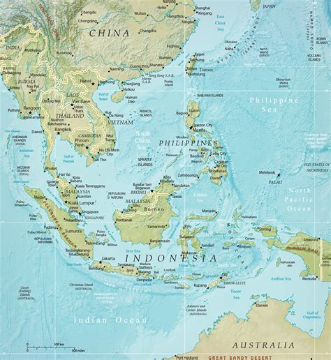 southeast physical asia map indonesia malaysia thailand