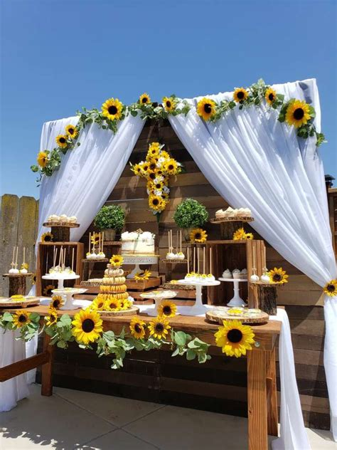 Sunflower Theme 1st communion Party Ideas Sunflower