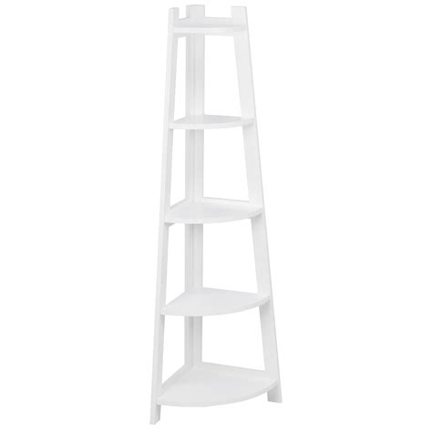 white corner shelf hartleys 5 tier white corner freestanding ladder shelf home display bookcase ebay