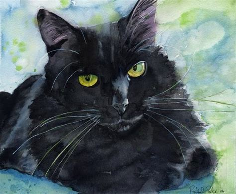 Abstract Black Cat Watercolor by Black Cat Painting Print Watercolor Large