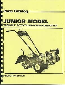 Troy Bilt Junior Tiller Parts Catalog  Manual 1986