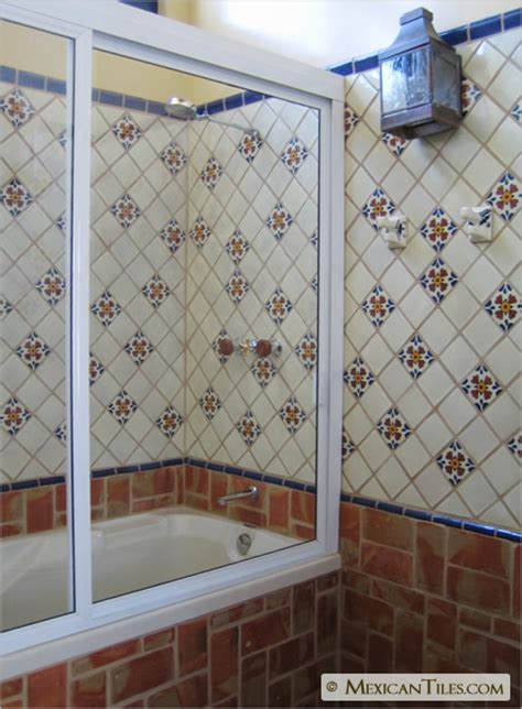 mexican tile bathroom designs mexicantiles com bathroom shower wall with seville talavera mexican tile