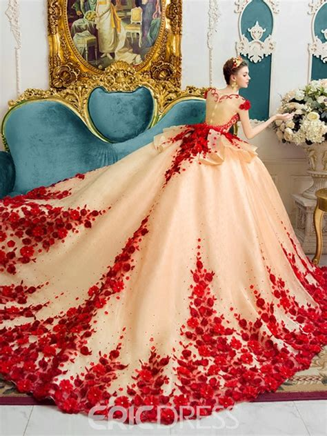 wedding dress with color ericdress amazing scoop gown color wedding dress
