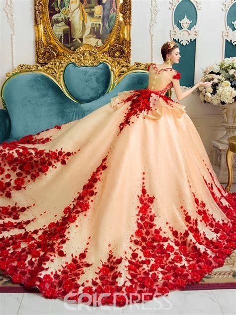 ericdress amazing scoop ball gown color wedding dress