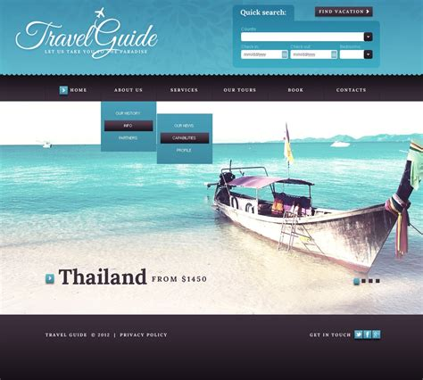 tourism bureau travel guide website template web design templates