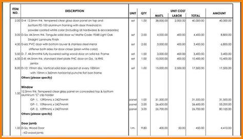 bill  quantities sample sample travel bill