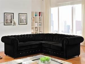 Canapé D Angle Chesterfield : canap d 39 angle en velours chesterfield noir ~ Teatrodelosmanantiales.com Idées de Décoration