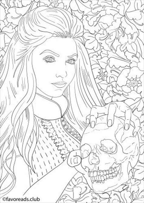 lady   skull  beautiful horror coloring page adult coloring pinterest beautiful