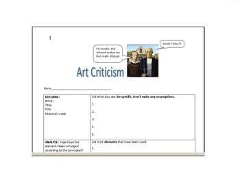 Art Critique Worksheet Sanfranciscolife