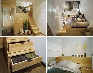 Lit 2 Places Avec Tiroirs : lit mezzanine 2 places 9 id es gain de place chambre adulte ~ Teatrodelosmanantiales.com Idées de Décoration