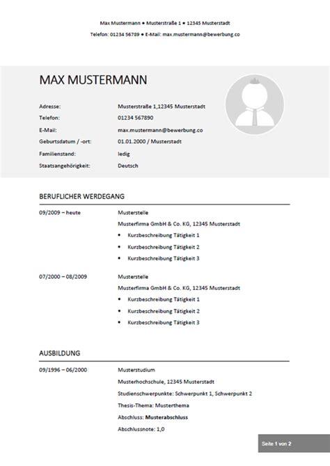 Aktueller Lebenslauf Vorlage by Lebenslauf Muster Vorlagen Fr Die Bewerbung 2018vorlage