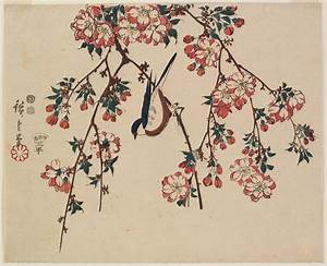 Bird on Double Cherry Branch, Hiroshige | things what are ...
