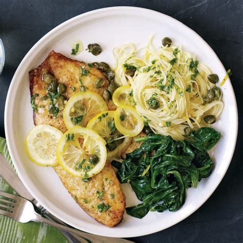scampi tilapia fish thin pasta fillets piccata recipe spinach gluten wilted linguini rachael ray rachaelraymag eating recipes