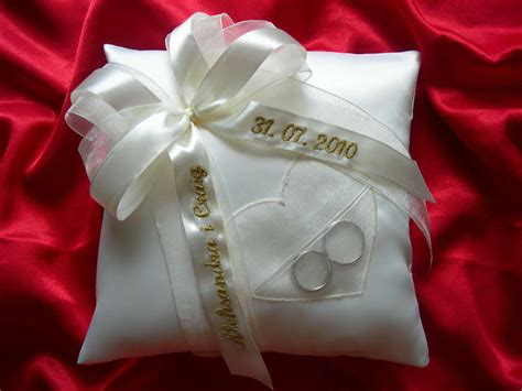 personalised wedding ring cushion pillow with heart 86