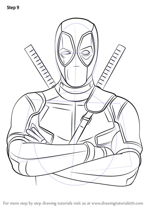 step  step   draw deadpool drawingtutorialscom
