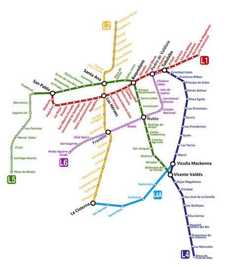 Santiago Metro Map, Chile
