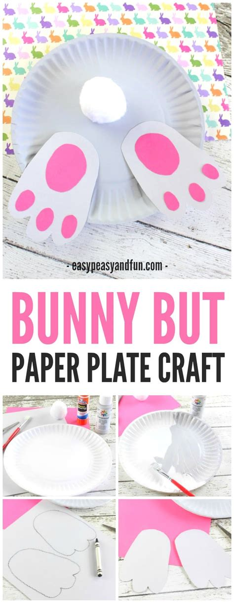 bunny butt paper plate craft easy peasy  fun
