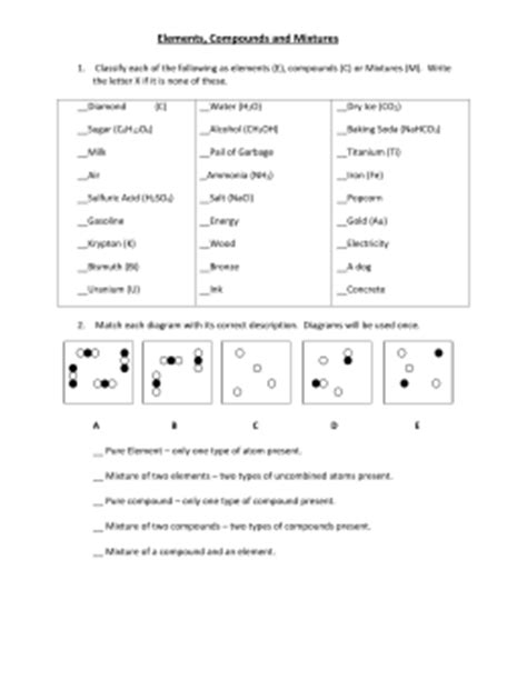 elements compounds and mixtures worksheet answers