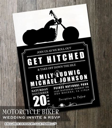 biker motorcycle wedding invitation diy printable digital