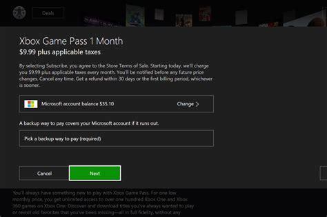 game pass  account balance xboxone