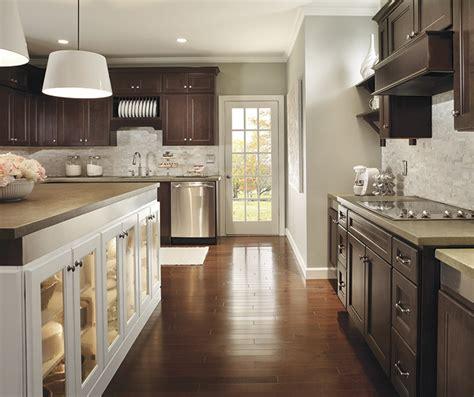 Dark Cherry Cabinets With Kitchen Island  Homecrest