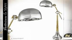 Lampe Type Industriel : grande lampe de style industriel et r tro en m tal argent et dor 85 cm int rieurs styles ~ Melissatoandfro.com Idées de Décoration