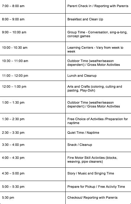 daily daycare schedules  infants toddlers