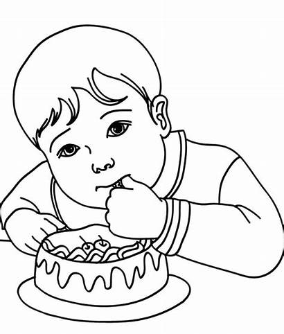 Coloring Eat Cake Birthday Pages Boy Tocolor