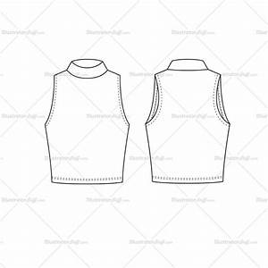 women39s turtleneck crop top fashion flat template With best templates