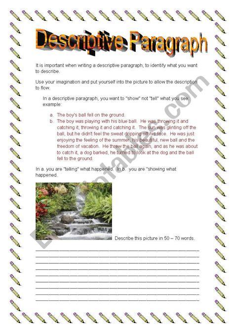 english worksheets descriptive paragraph