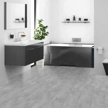 sol pvc en d 233 co design d une salle de bain grise