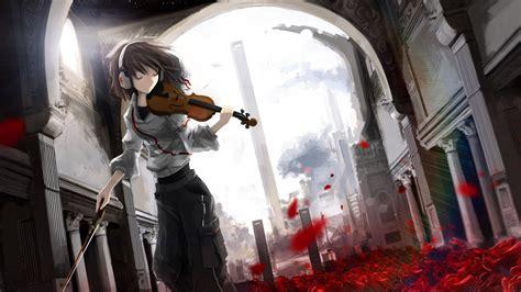 anime anime girls violin headphones rose leaves